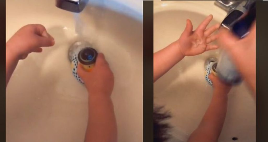Hand washing hack with rubber duck
