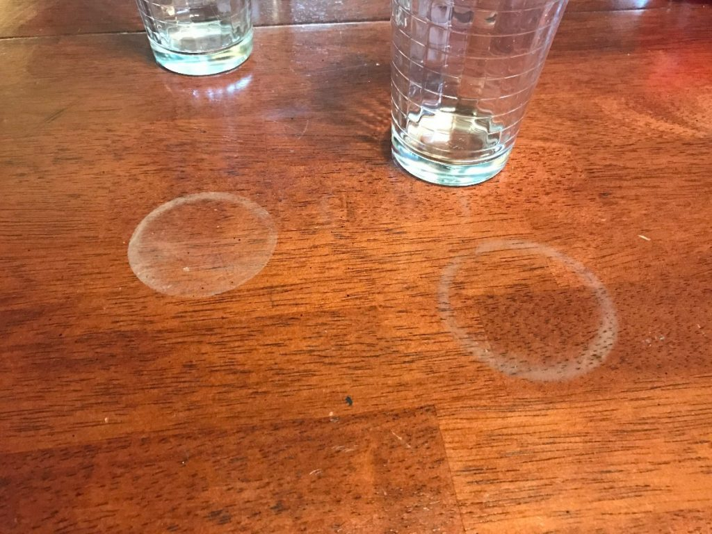 water stains on wood