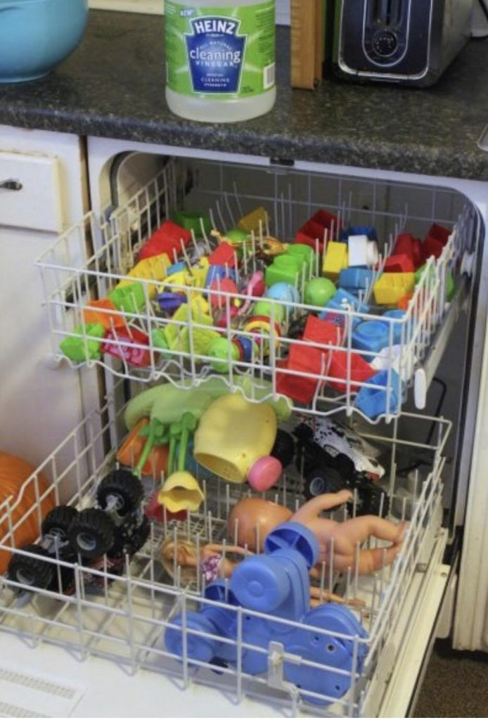 Baby toys in the dishwasher
