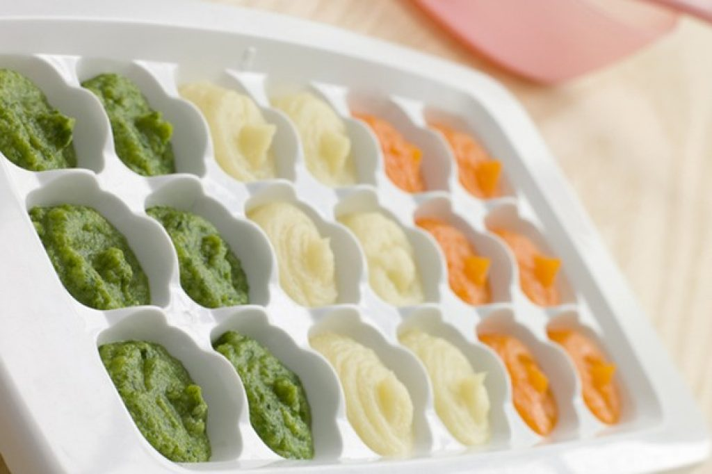 frozen baby food in ice cube tray